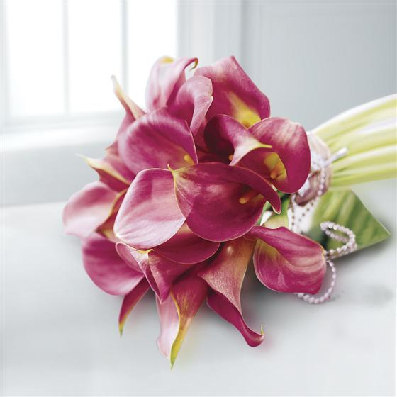 Deep Pink Calla Lily & Pearl Bridesmaid Bouquet
