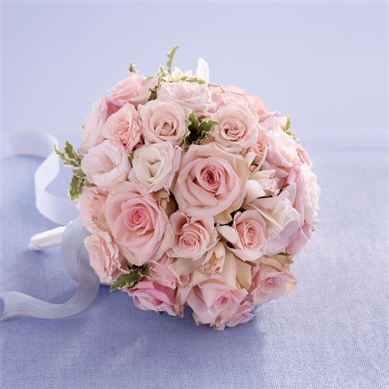 Soft Pink Rose & Orchid Bridesmaid Bouquet