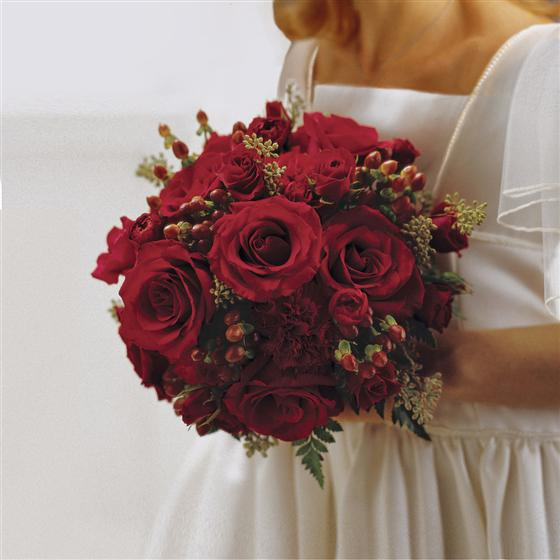 Scarlet Rose & Berry Bridesmaid Bouquet