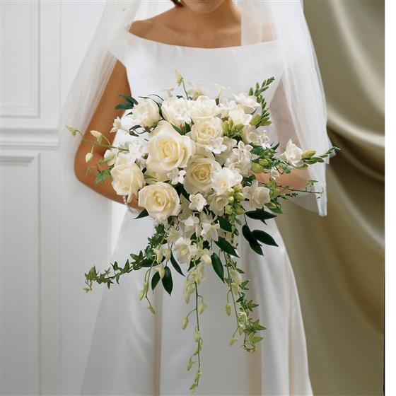 Large Ivory Rose & Orchid Scented Bridal Bouquet