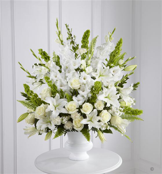 Large White and Green Service Arrangement