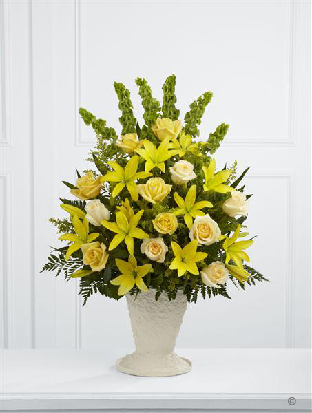 Large Yellow Lily and Rose Service Arrangement