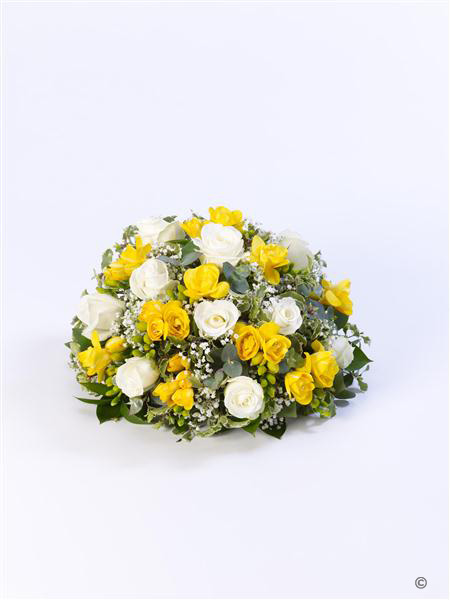 Extra Large Rose and Freesia Posy - Yellow and White
