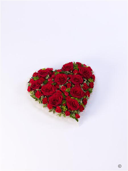 Large Red Rose and Carnation Heart