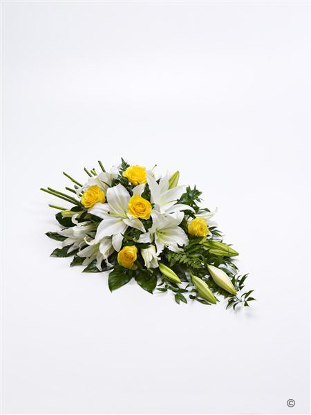Extra Large Rose and Lily Spray - Yellow and White