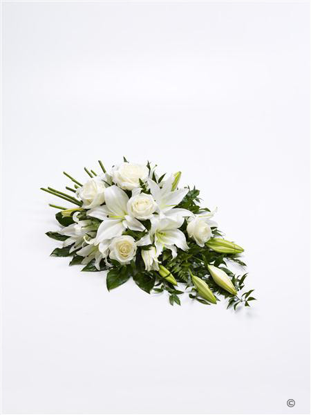 Large Rose and Lily Spray - White