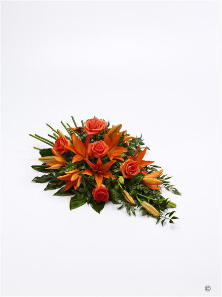 Large Rose and Lily Spray - Orange