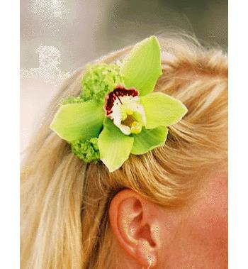 Orchid hair corsage