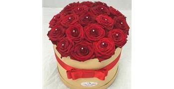 Grand Luxury Red Roses Hat Box