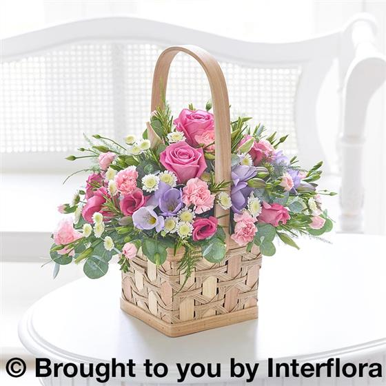 Large Scented Pink & Lilac Basket